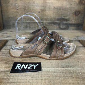 LL Bean Cork Slide Brown Double Buckle Sandals